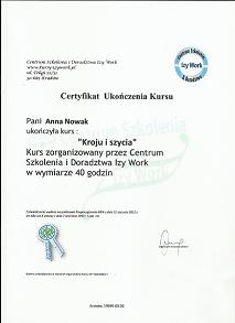 Certyfikat kurs szkolenie